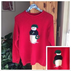 "Vintage ""Ugly"" Snowman Christmas Sweater, Small"